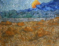 Landscape with Wheat Sheaves and Rising Moon painting reproduction, Vincent Van Gogh