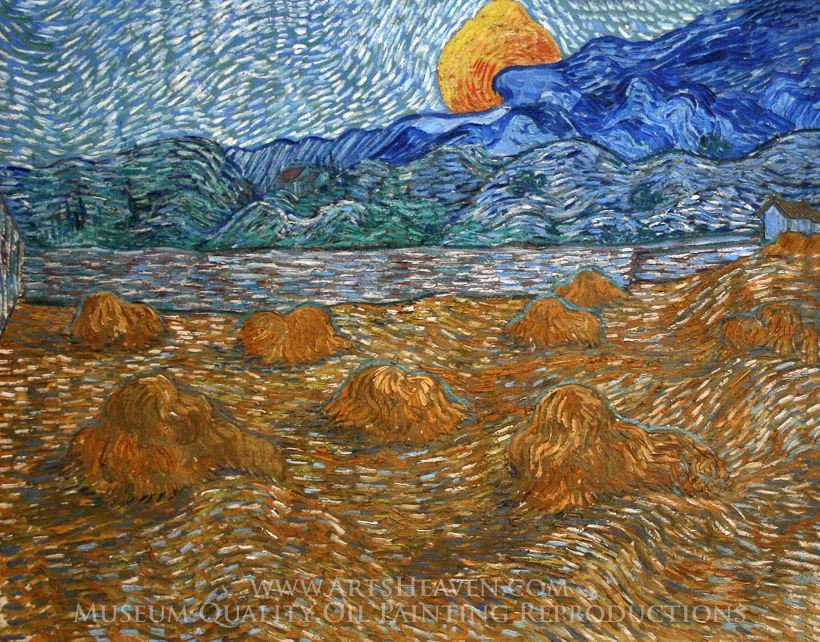 Vincent Van Gogh Landscape with Wheat Sheaves and Rising Moon ...
