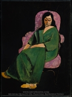 Laurette in a Green Robe, Black Background painting reproduction, Henri Matisse
