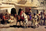 Leaving for the Hunt at Gwalior 1887 painting reproduction, Edwin Lord Weeks