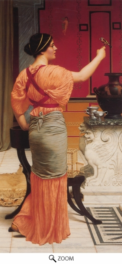 John William Godward, Lesbia with her Sparrow oil painting reproduction