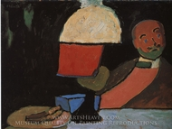 Listening (Portrait of Jawlensky) painting reproduction, Gabriele Munter