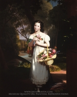 Little Girl with Flowers (Amelia Palmer) painting reproduction, Charles Cromwell Ingham