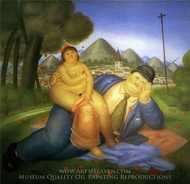 Lovers painting reproduction, Fernando Botero