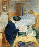Lucy Hessel Reading painting reproduction, Édouard Vuillard
