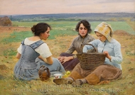 Lunch Break in the Fields painting reproduction, Charles Sprague Pearce