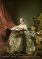 Madame De Pompadour at her Tambour Frame painting reproduction, Francois-Hubert Drouais