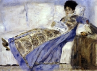 Madame Monet Reclining on a Sofa, Reading painting reproduction, Pierre-Auguste Renoir