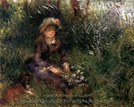 Madame Renoir with a Dog painting reproduction, Pierre-Auguste Renoir