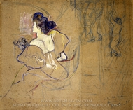 Madame Thadee Natanson (Misia Godebska) at the Theater painting reproduction, Henri De Toulouse-Lautrec