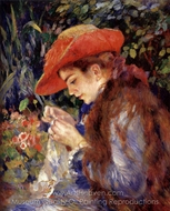 Mademoiselle Marie-Therese Durand-Ruel Sewing painting reproduction, Pierre-Auguste Renoir