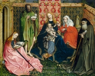 Madonna and Child with Saints in the Enclosed Garden painting reproduction, Robert Campin
