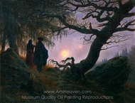 Man and Woman Contemplating the Moon painting reproduction, Caspar David Friedrich