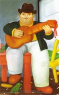 Man with a Guitar painting reproduction, Fernando Botero