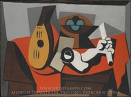 Mandolin, Fruit Bowl, and Plaster Arm painting reproduction, Pablo Picasso (inspired by)