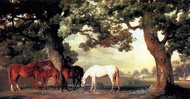 Mares and Foals Beneath Large Oak Trees painting reproduction, George Stubbs