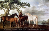 Mares and Foals in a Landscape painting reproduction, George Stubbs