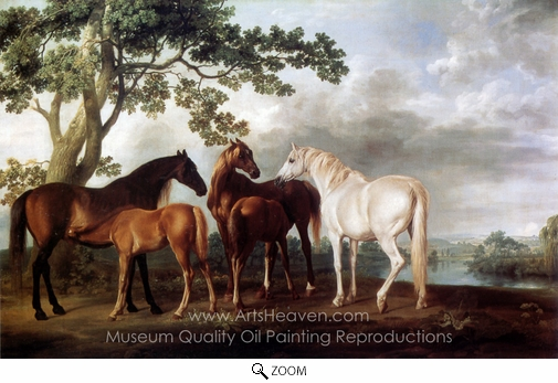 George Stubbs, Mares and Foals in a Landscape oil painting reproduction