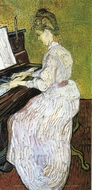 Marguerite Gachet at the Piano painting reproduction, Vincent Van Gogh