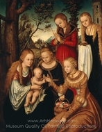 Marriage of St Catherine painting reproduction, Lucas Cranach