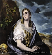Mary Magdalen in Penitence painting reproduction, El Greco