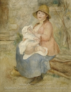 Maternity Baby at the Breast (Aline and her Son Pierre) painting reproduction, Pierre-Auguste Renoir