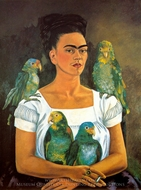 Me and My Parrots painting reproduction, Frida Kahlo