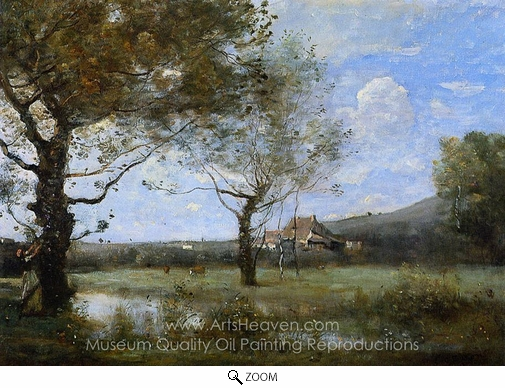 Jean-Baptiste Camille Corot, Meadow with Two Large Trees oil painting reproduction