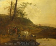 Men with an Ox and Cattle by a Pool painting reproduction, Jan Both