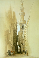 Minaret of the Mosque El Rhamree painting reproduction, David Roberts