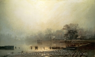 Mist the Red Pond in Moscow in Autumn painting reproduction, Lev Kamenev