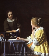Mistress and Maid painting reproduction, Jan Vermeer