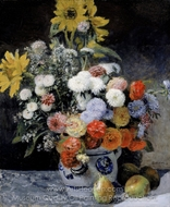 Mixed Flowers in an Earthenware Pot painting reproduction, Pierre-Auguste Renoir