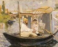Monet Painting in his Floating Studio painting reproduction, Edouard Manet