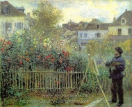 Monet Painting in His Garden at Argenteuil painting reproduction, Pierre-Auguste Renoir