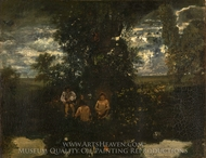 Moonlight, The Bathers painting reproduction, Theodore Rousseau