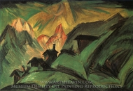 Moonlit Alpine Pasture painting reproduction, Ernst Ludwig Kirchner
