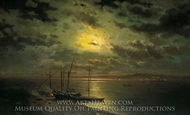 Moonlit Night on River painting reproduction, Lev Kamenev
