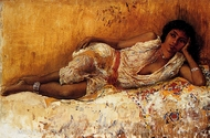 Moorish Girl Lying on a Couch painting reproduction, Edwin Lord Weeks