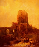 Moorish Tower on the Bridge at Cordova painting reproduction, David Roberts
