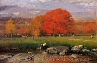 Morning, Catskill Valley (The Red Oaks) painting reproduction, George Inness