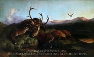 Morning (Two Dead Stags and a Fox) painting reproduction, Sir Edwin Landseer