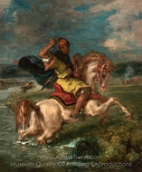 Moroccan Horseman Crossing a Ford painting reproduction, Eugene Delacroix