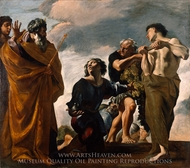 Moses and the Messengers from Canaan painting reproduction, Giovanni Lanfranco