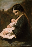 Mother and Child painting reproduction, Jean-Baptiste Camille Corot