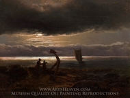 Mother and Child by the Sea painting reproduction, Johan Christian Dahl