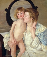 Mother and Child (The Oval Mirror) painting reproduction, Mary Cassatt