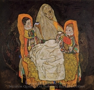 Mother and Two Children painting reproduction, Egon Schiele