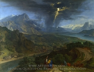 Mountain Landscape with Lightning painting reproduction, Francisque Millet