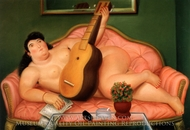 Mujer con Guitarra painting reproduction, Fernando Botero